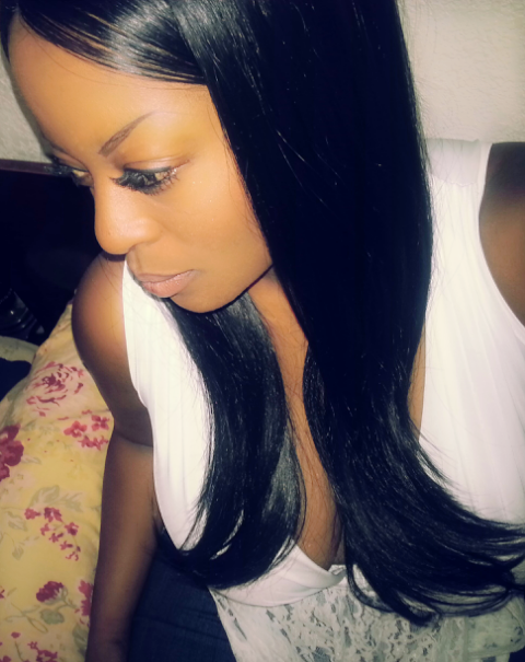 wearing ITEM: BETTY-SWEGL Black Synthetic Lace Front Wig w/Glueless Cap & 3 Inch Part