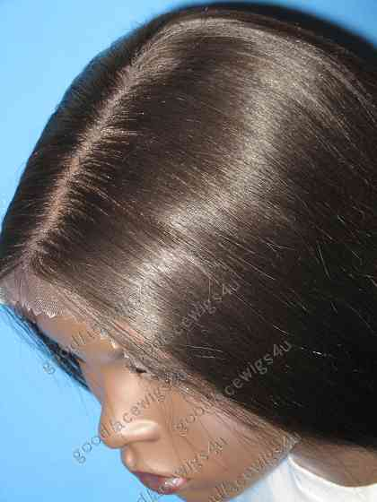 Nice Yaki Straight Dark Brown Lace Front Wig w/5 Inch Middle Part - Light Density at Front