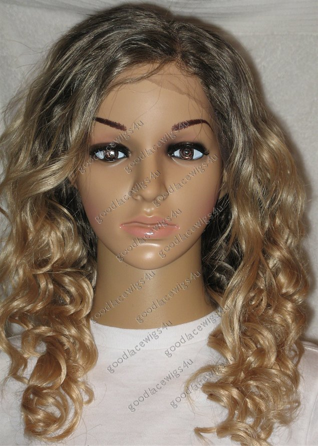 Loose Curly Ombre Effect Blonde Lace Front wig with 3.5 Inch Parting and Soft Lace